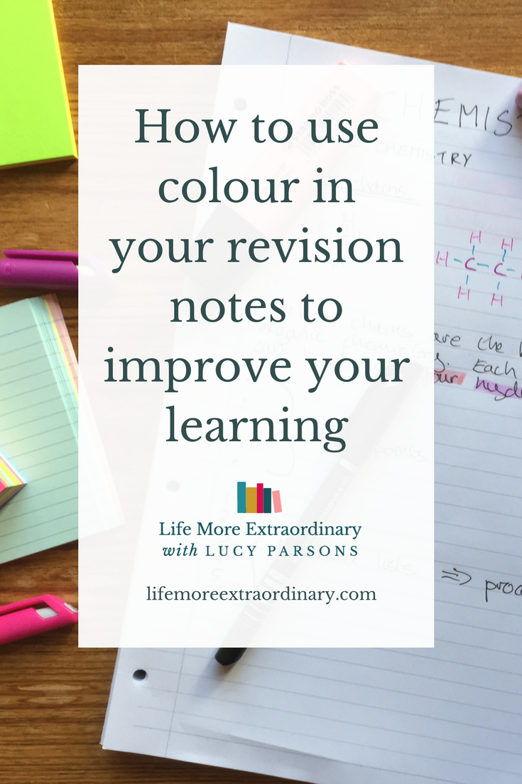 How to use colour in your revision notes to improve your learning | Need to revise but not sure how to make effective revision notes? Click to find out how to layout your notes and use colour to help you revise. #revisionnotes #studytips #revision